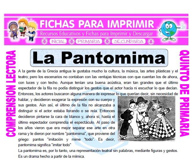Ficha de La Pantomima para Quinto de Primaria