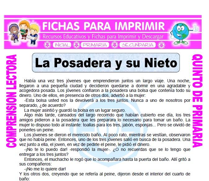 Ficha de La Posadera y su Nieto para Quinto de Primaria