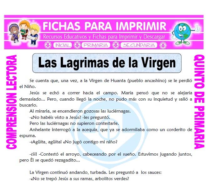 Ficha de Las lagrimas de la Virgen para Quinto de Primaria