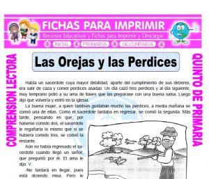 Ficha de Las Orejas y las Perdices para Quinto de Primaria