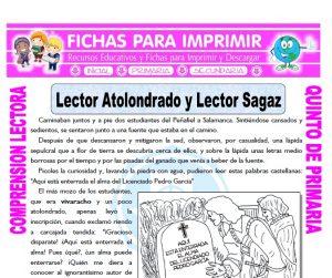 Ficha de Lector Atolondrado y Lector Sagaz para Quinto de Primaria