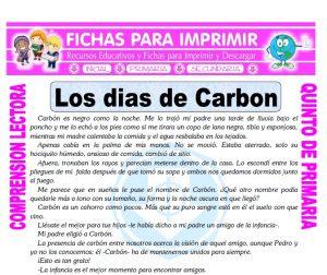 Ficha de Los Dias de Carbon para Quinto de Primaria
