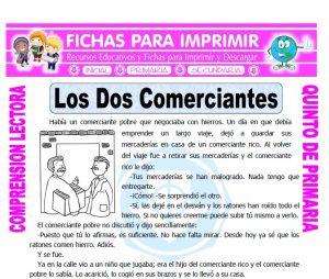 Ficha de Los Dos Comerciantes para Quinto de Primaria