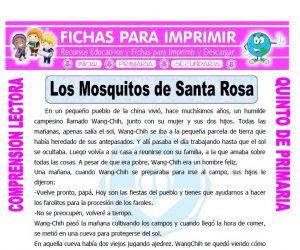 Ficha de Los Mosquitos de Santa Rosa para Quinto de Primaria