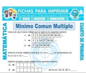 icha de Minimo Comun Multiplo para Cuarto de Primaria