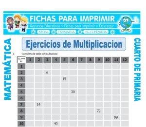 Ficha De Multiplicacion Ejercicios Para Cuarto De Primaria