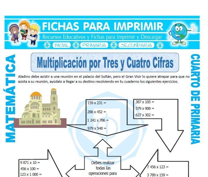 ficha de Multiplicación por Tres y Cuatro Cifras para Cuarto de Primaria