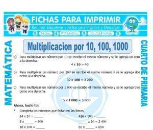 ficha de Multiplicar por 10 para Cuarto de Primaria