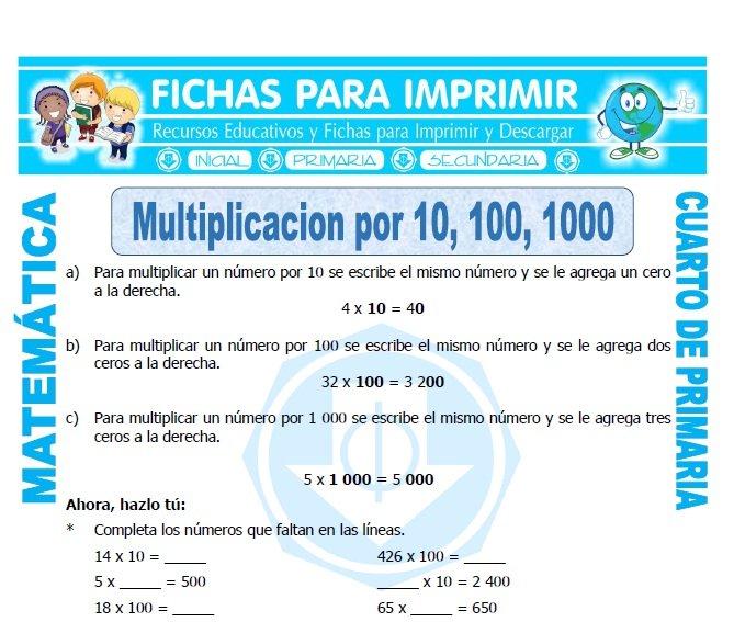 Multiplicar por 10 para cuarto de primaria fichas para for Cuarto primaria