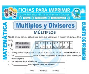 Multiplos y Divisores para Cuarto de Primaria