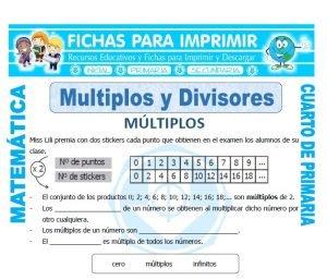 ficha de Multiplos y Divisores para Cuarto de Primaria