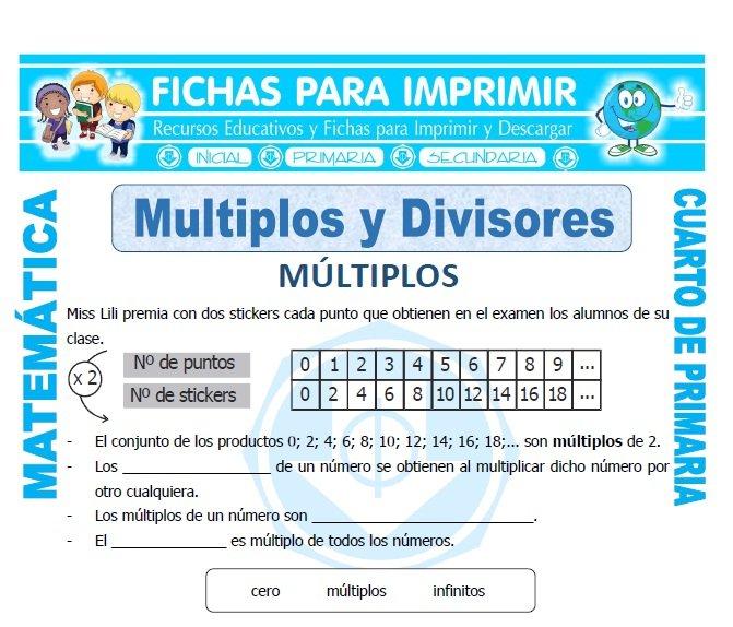 Multiplos y Divisores para Cuarto de Primaria - Fichas para Imprimir