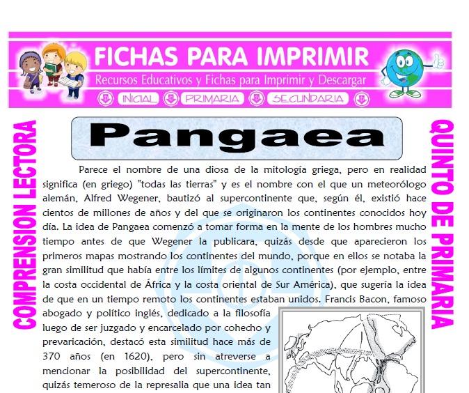 Ficha de Pangaea para Quinto de Primaria