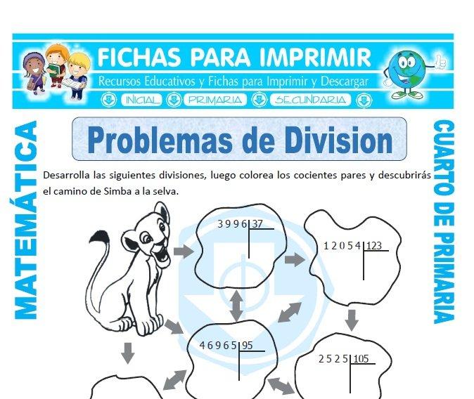 Problemas de Division para Cuarto de Primaria - Fichas para Imprimir