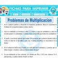 Problemas de Multiplicacion Cuarto Primaria