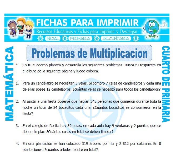 Problemas de Multiplicacion Cuarto Primaria - FICHAS GRATIS