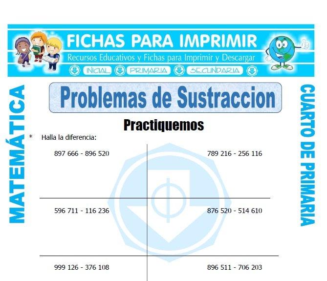Problemas de Sustraccion para Cuarto de Primaria - Fichas ...
