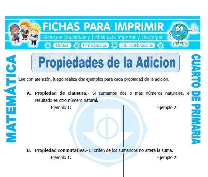 Propiedades de la Adicion para Cuarto de Primaria - Fichas para Imprimir