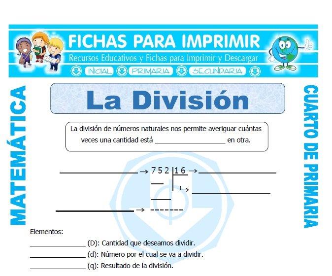 Que es la Division para Cuarto de Primaria - Fichas para Imprimir