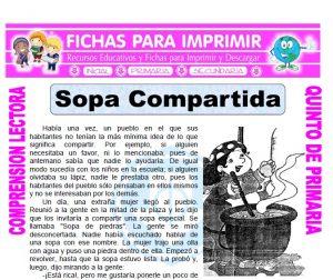 Ficha de Sopa Compartida para Quinto de Primaria