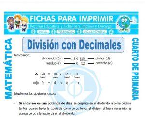 Division con Decimales para Cuarto de Primaria