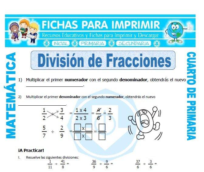Division de Fracciones para Cuarto de Primaria - Fichas para Imprimir
