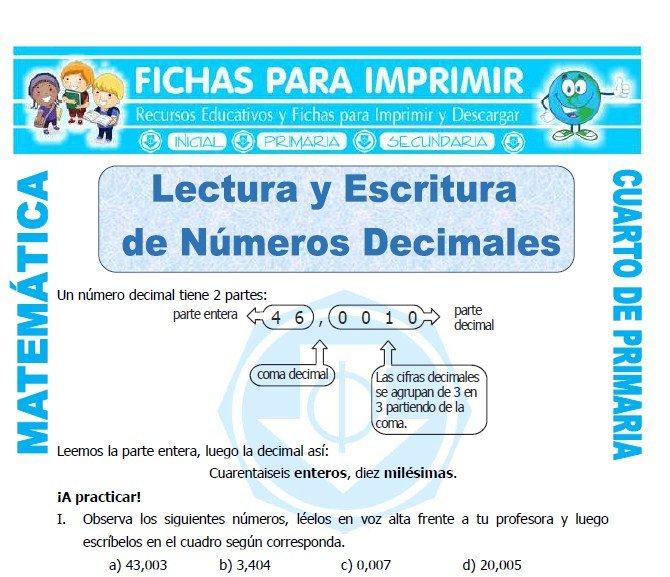 Lectura y Escritura de Numeros Decimales para Cuarto de Primaria