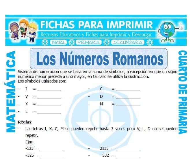 Los Numeros Romanos para Cuarto de Primaria - Fichas para Imprimir