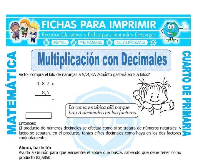 Multiplicacion con Decimales para Cuarto de Primaria