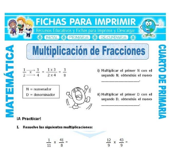 Multiplicacion de Fracciones para Cuarto de Primaria