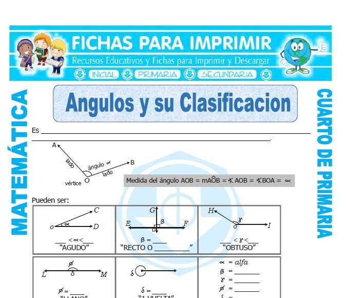 Angulos y su Clasificacion para Cuarto de Primaria - Fichas para ...
