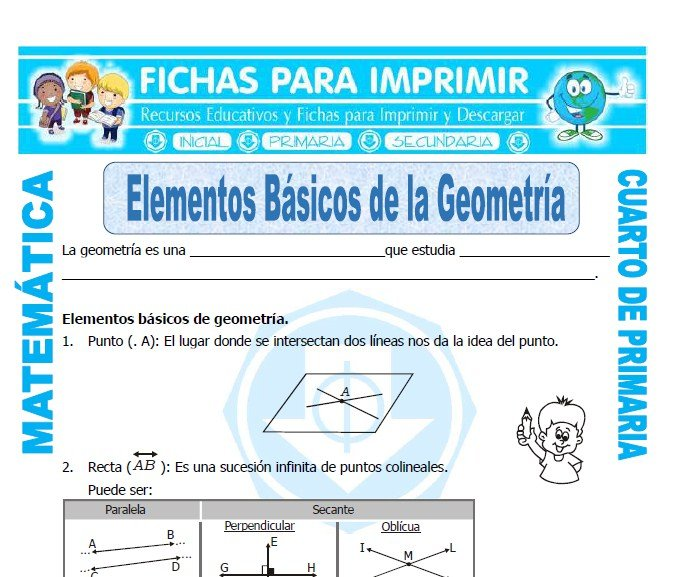 Modelo de la ficha de Elementos Basicos de la Geometria para Cuarto de Primaria