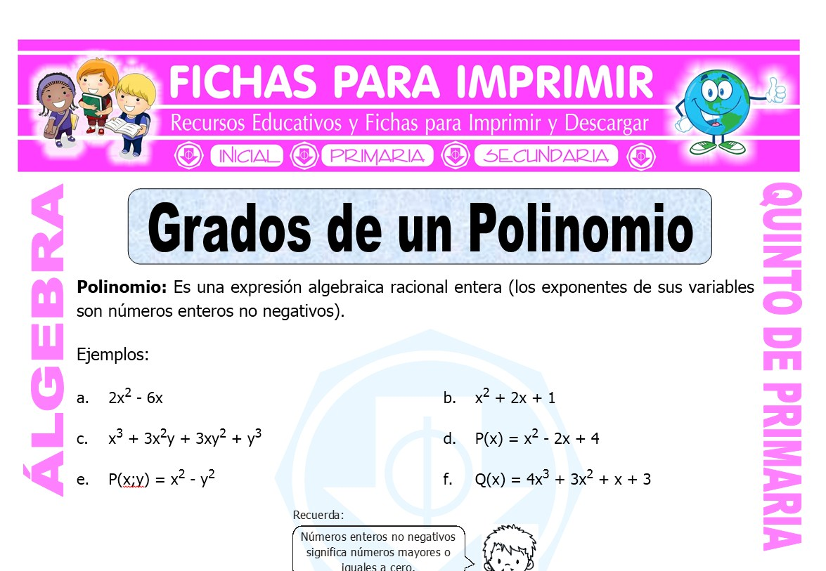 Grados de un Polinomio para Quinto de Primaria