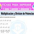 Multiplicacion y Division de Potencias para Quinto de Primaria