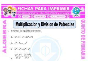 Modelo de la ficha de Multiplicacion y Division de Potencias para Quinto de Primaria