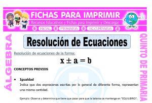 Resolucion de Ecuaciones para Quinto de Primaria