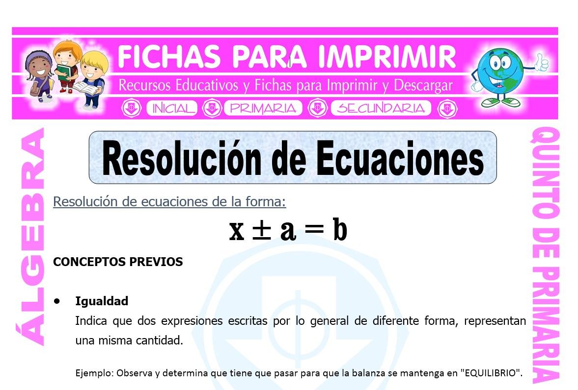Resolucion de Ecuaciones para Quinto de Primaria - Fichas ...