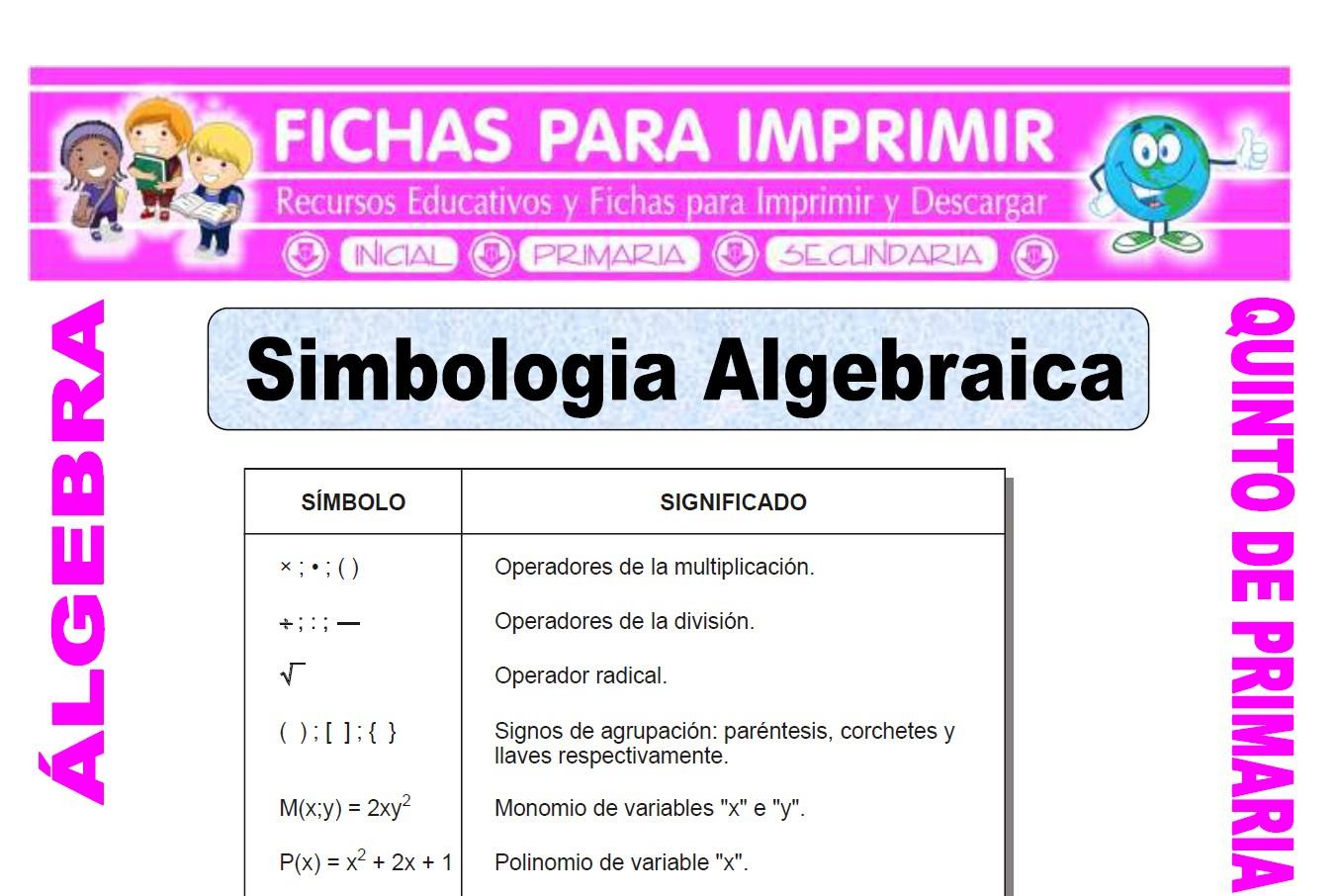 Simbologia Algebraica para quinto de primaria