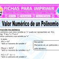 Valor Numerico de un Polinomio para Quinto de Primaria