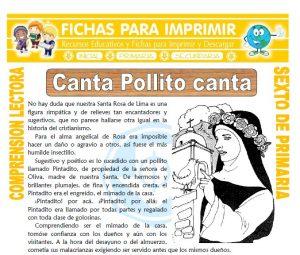 Ficha de Canta Pollito para Sexto de Primaria