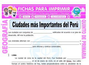 Ficha de Ciudades mas Importantes del Perú para Quinto de Primaria