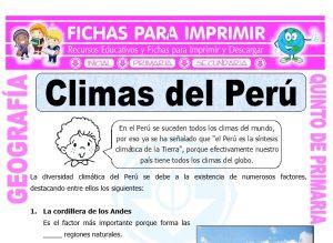 Ficha de Climas del Perú para Quinto de Primaria