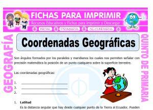 Ficha de Coordenadas Geograficas para Quinto de Primaria