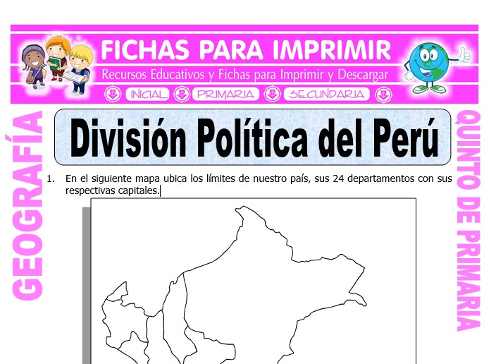 Ficha de División Política del Perú para Quinto de Primaria