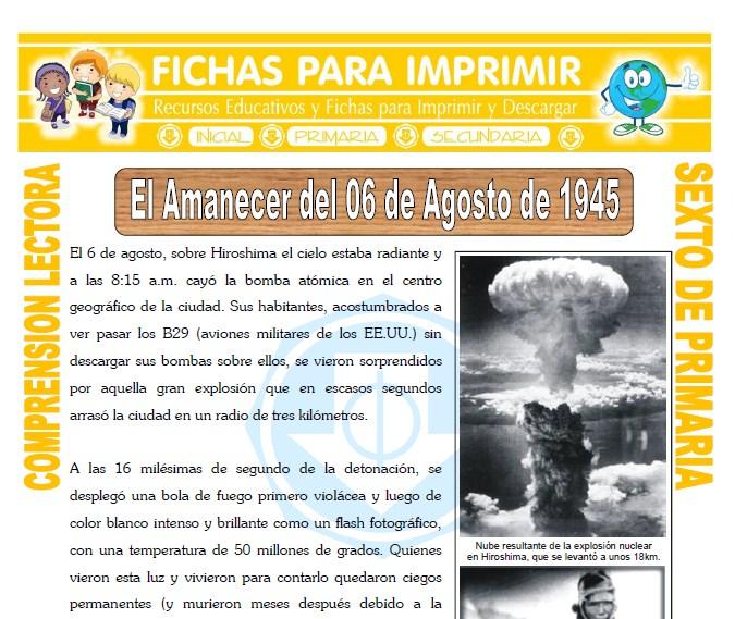 Ficha de El Amanecer del 06 de Agosto de 1945 para Sexto de Primaria