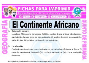 Ficha de El Continente Africano para Quinto de Primaria