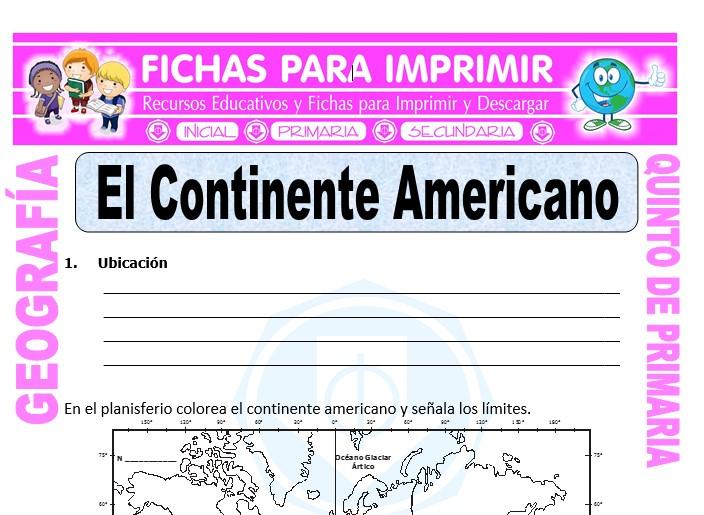Ficha de El Continente Americano para Quinto de Primaria