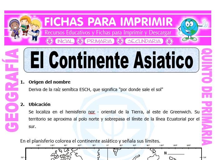 Ficha de El Continente Asiatico para Quinto de Primaria