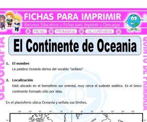 El Continente de Oceania para Quinto de Primaria