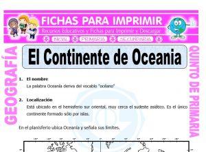Ficha de El Continente de Oceania para Quinto de Primaria